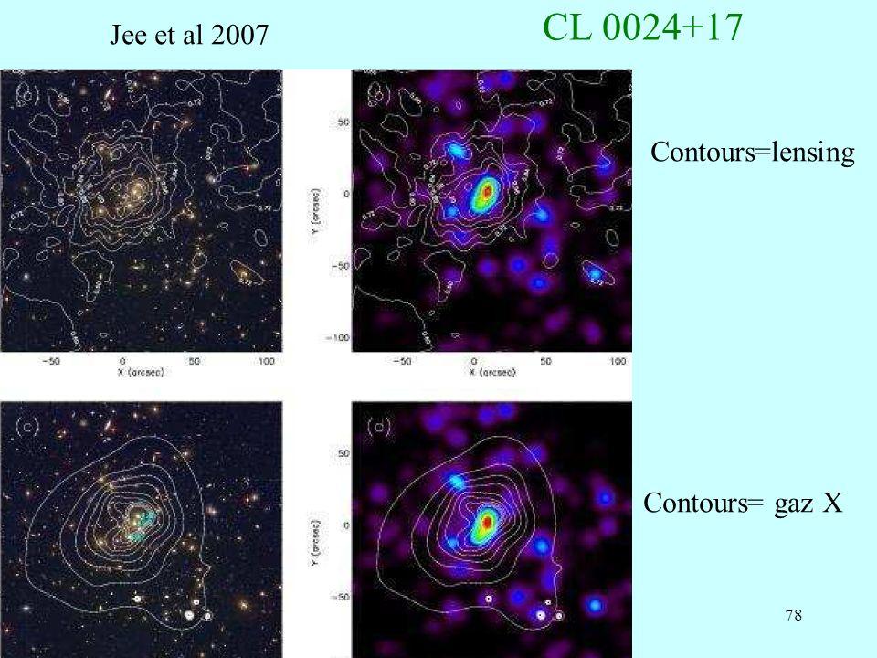 CL 0024+17 Jee et al 2007 Contours=lensing Contours= gaz X
