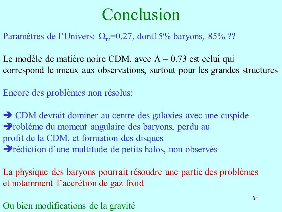 Conclusion Paramètres de l'Univers: Wm=0.27, dont15% baryons, 85%