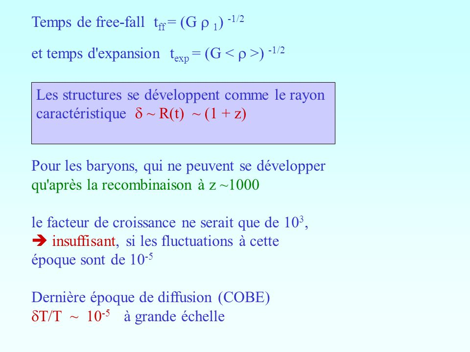 Temps de free-fall tff = (G r 1) -1/2