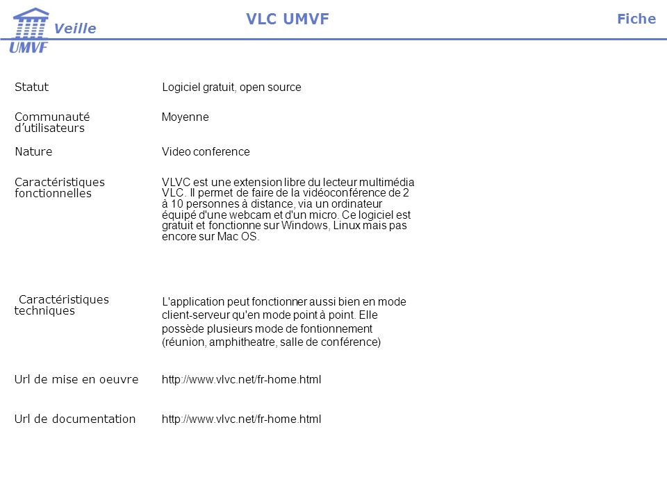 VLC UMVF Fiche Veille Statut Logiciel gratuit, open source