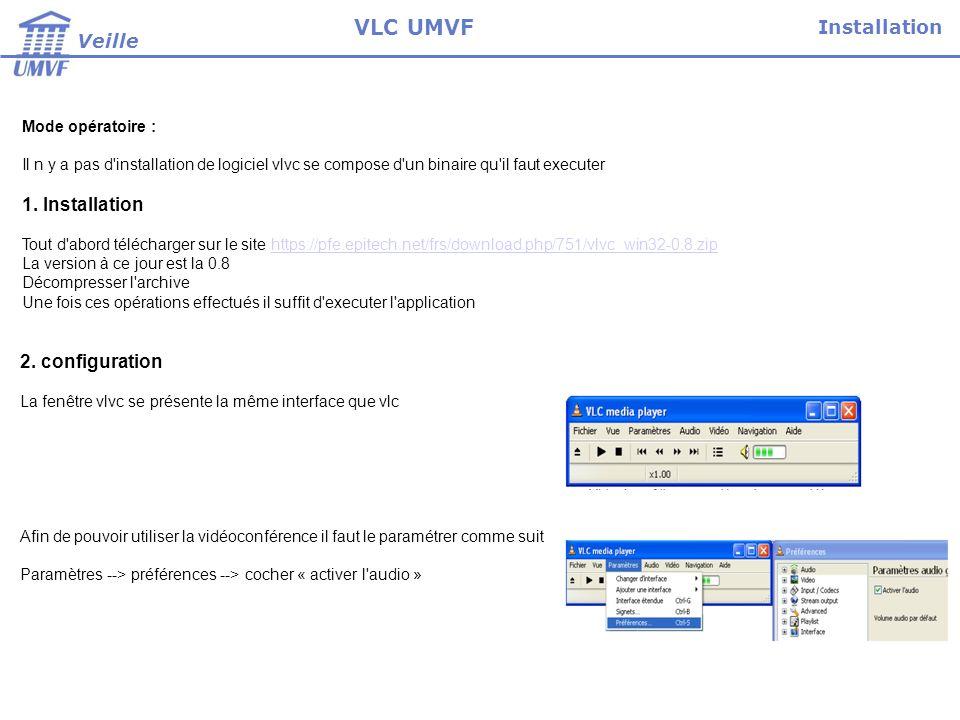 VLC UMVF Installation Veille 1. Installation 2. configuration