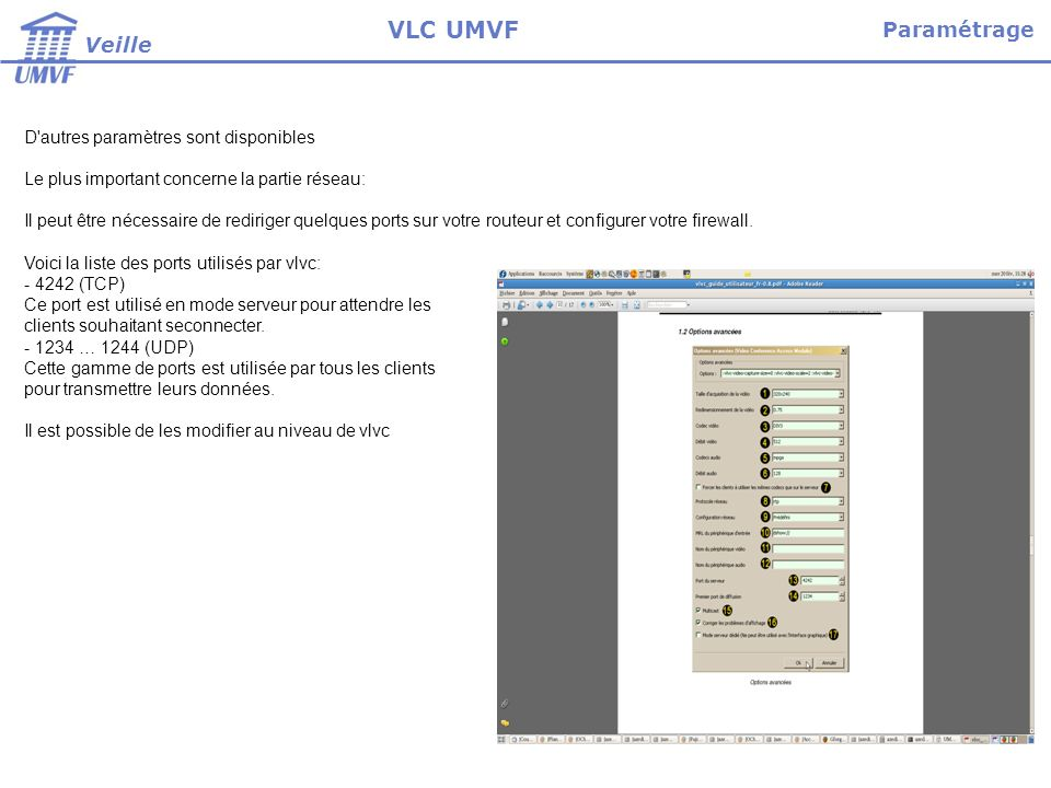VLC UMVF Paramétrage Veille D autres paramètres sont disponibles