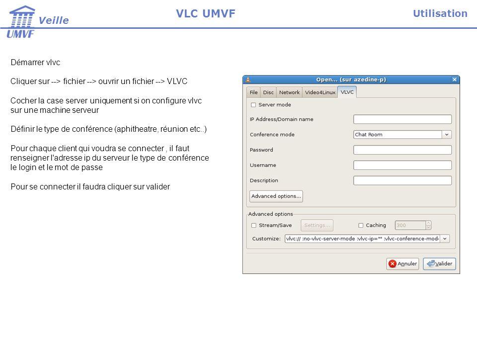 VLC UMVF Utilisation Veille Démarrer vlvc