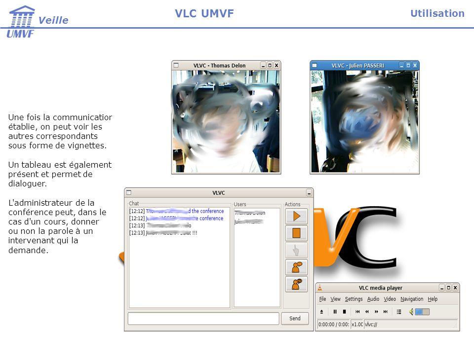 VLC UMVF Utilisation Veille Paramétrage Une fois la communication