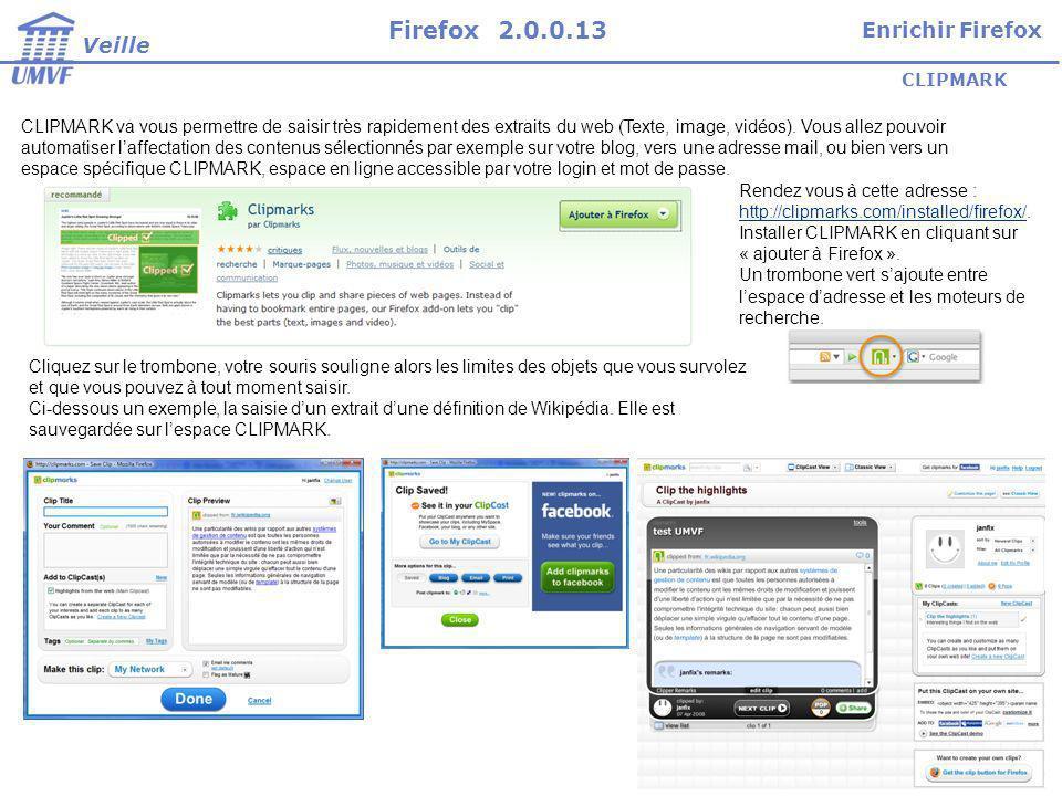 Firefox 2.0.0.13 Enrichir Firefox Veille CLIPMARK