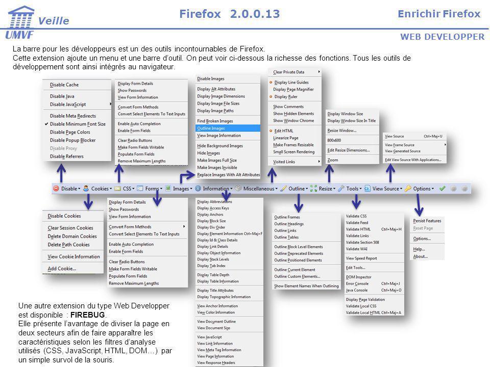 Firefox 2.0.0.13 Enrichir Firefox Veille WEB DEVELOPPER