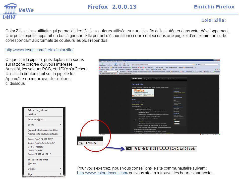 Firefox 2.0.0.13 Enrichir Firefox Veille Color Zilla: