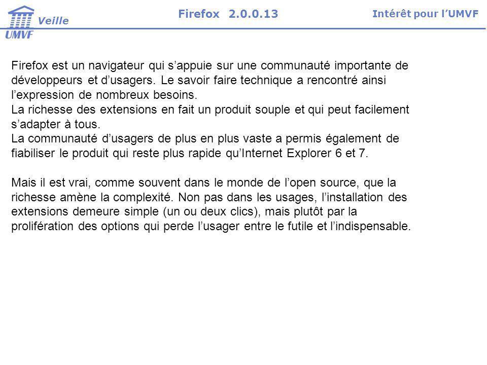 Firefox 2.0.0.13 Intérêt pour l'UMVF. Veille.