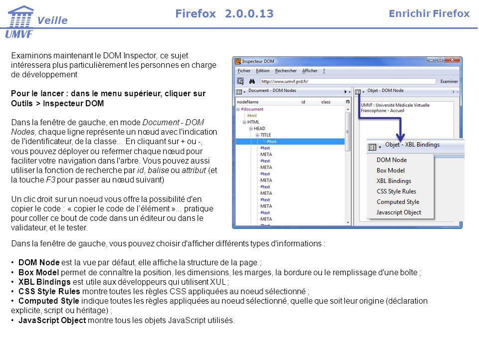 Firefox 2.0.0.13 Enrichir Firefox Veille