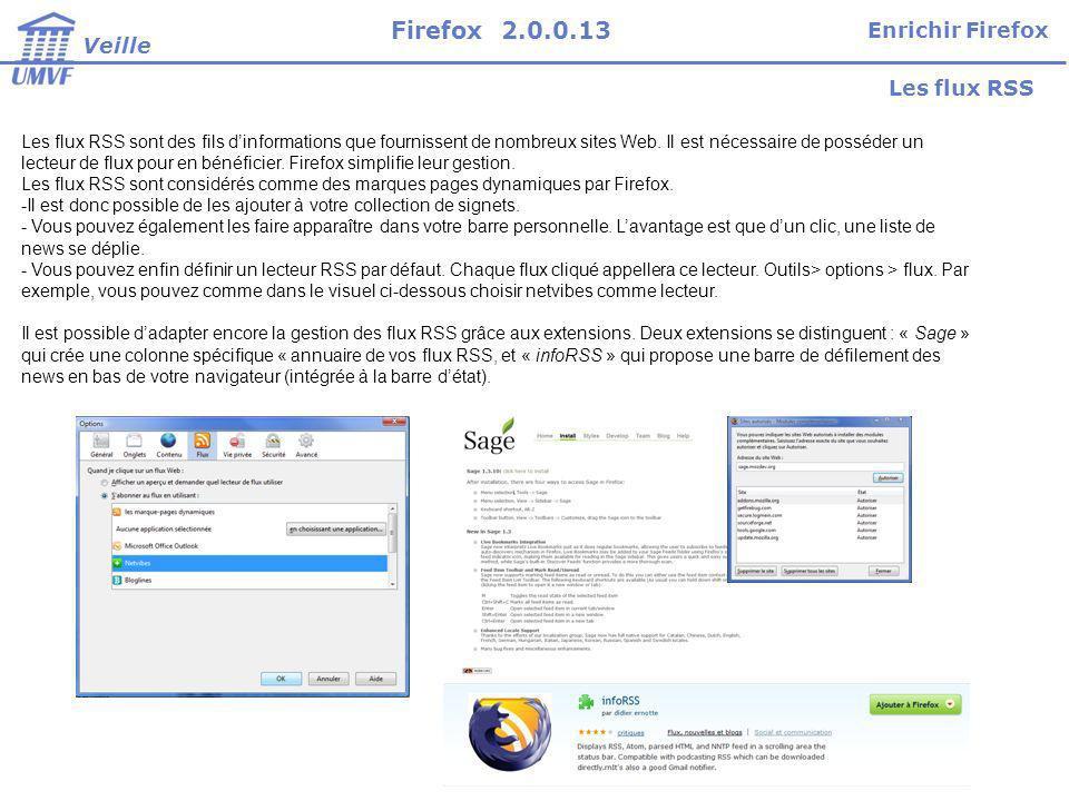 Firefox 2.0.0.13 Enrichir Firefox Veille Les flux RSS