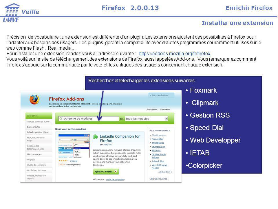 Foxmark Clipmark Gestion RSS Speed Dial Web Developper IETAB