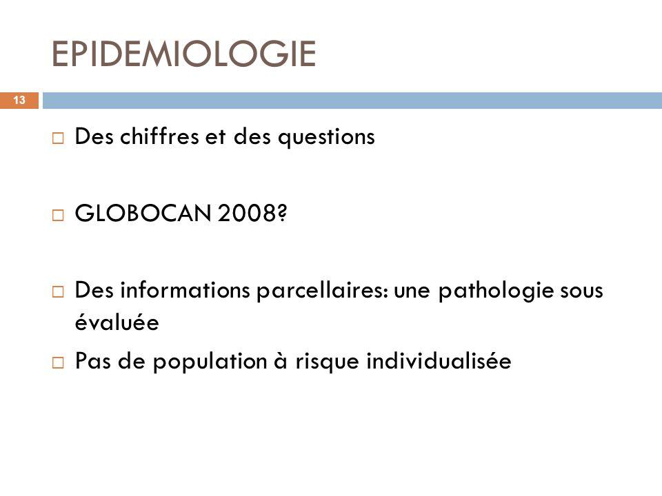 EPIDEMIOLOGIE Des chiffres et des questions GLOBOCAN 2008