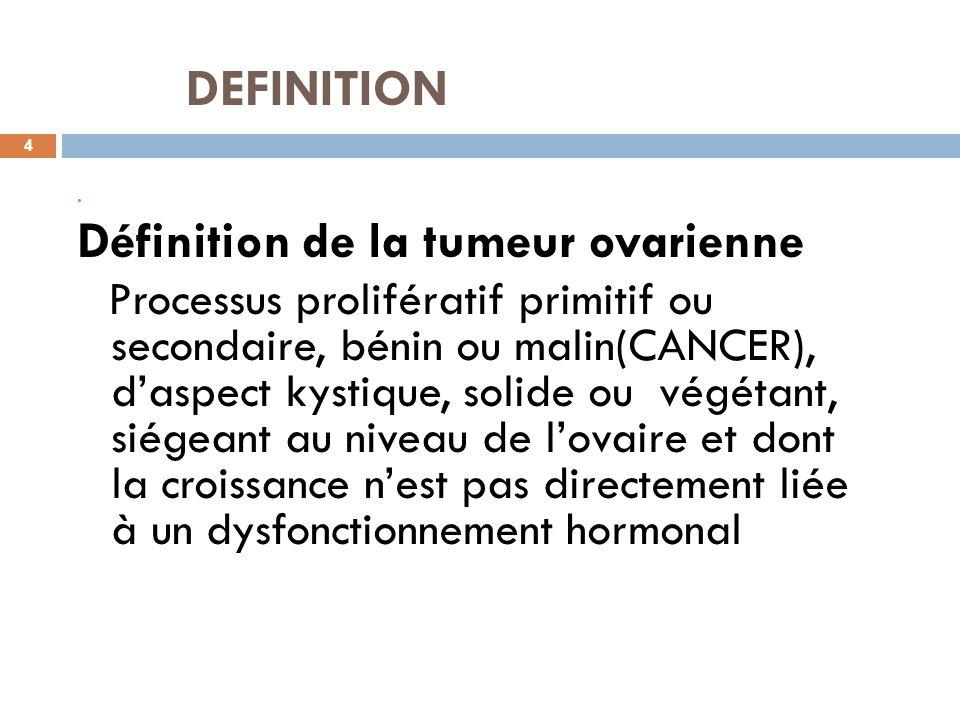 DEFINITION Définition de la tumeur ovarienne
