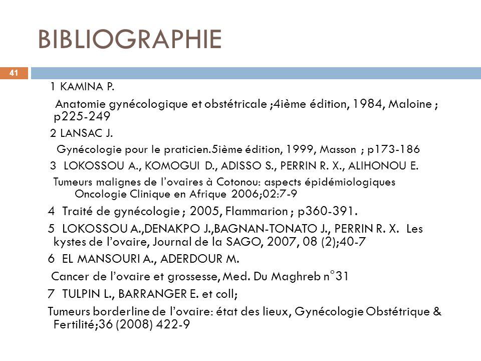 BIBLIOGRAPHIE1 KAMINA P. Anatomie gynécologique et obstétricale ;4ième édition, 1984, Maloine ; p225-249.
