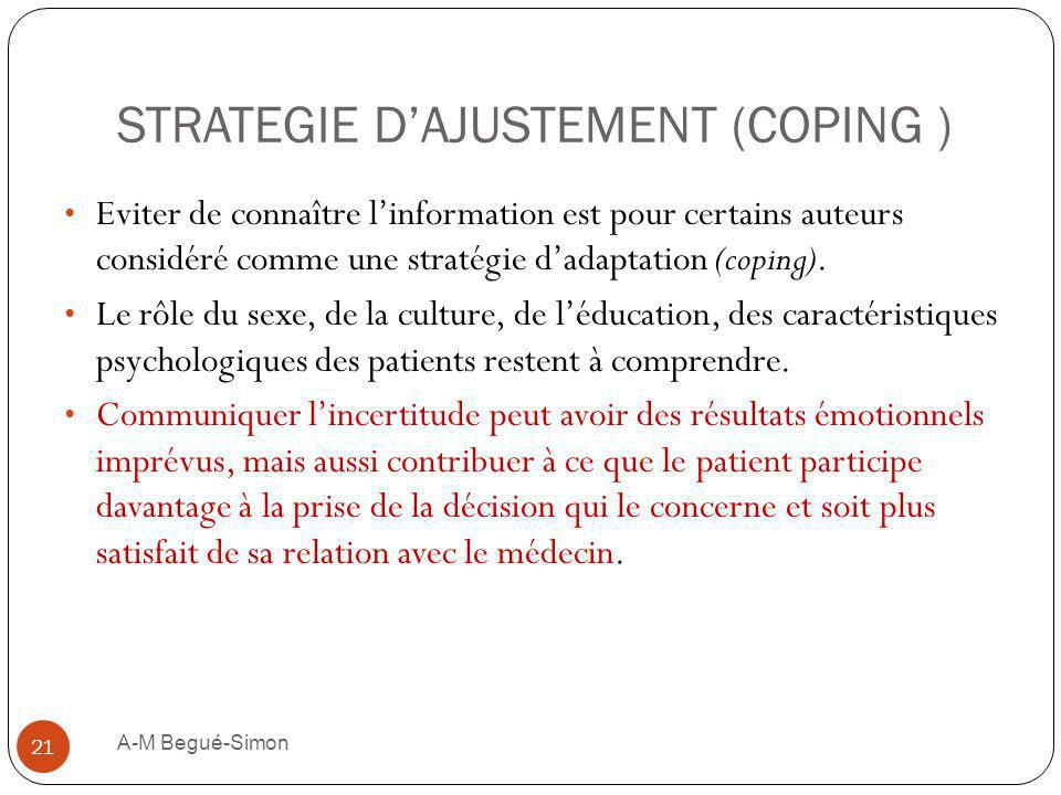 STRATEGIE D'AJUSTEMENT (COPING )