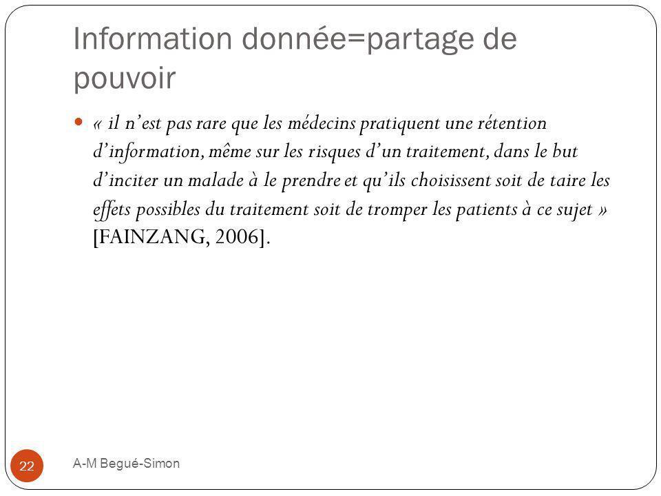 Information donnée=partage de pouvoir