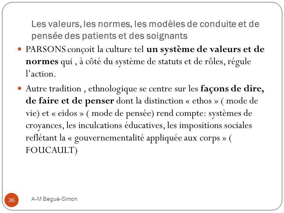 Les valeurs, les normes, les modèles de conduite et de pensée des patients et des soignants