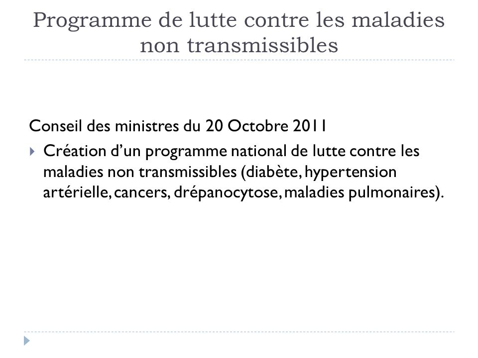 Programme de lutte contre les maladies non transmissibles