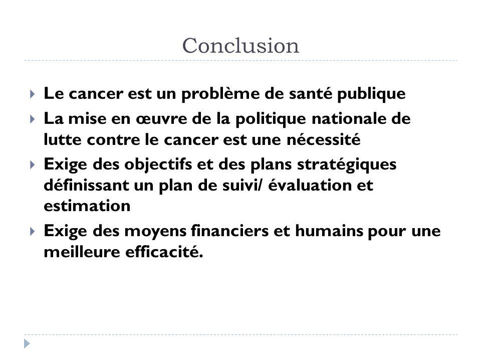Conclusion Le cancer est un problème de santé publique