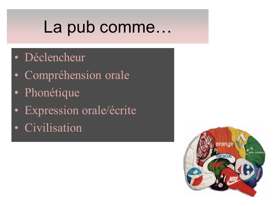 La pub comme… Déclencheur Compréhension orale Phonétique