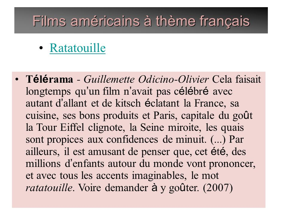 Films américains à thème français