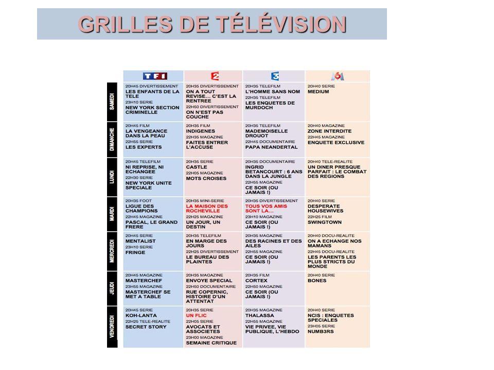 GRILLES DE TÉLÉVISION