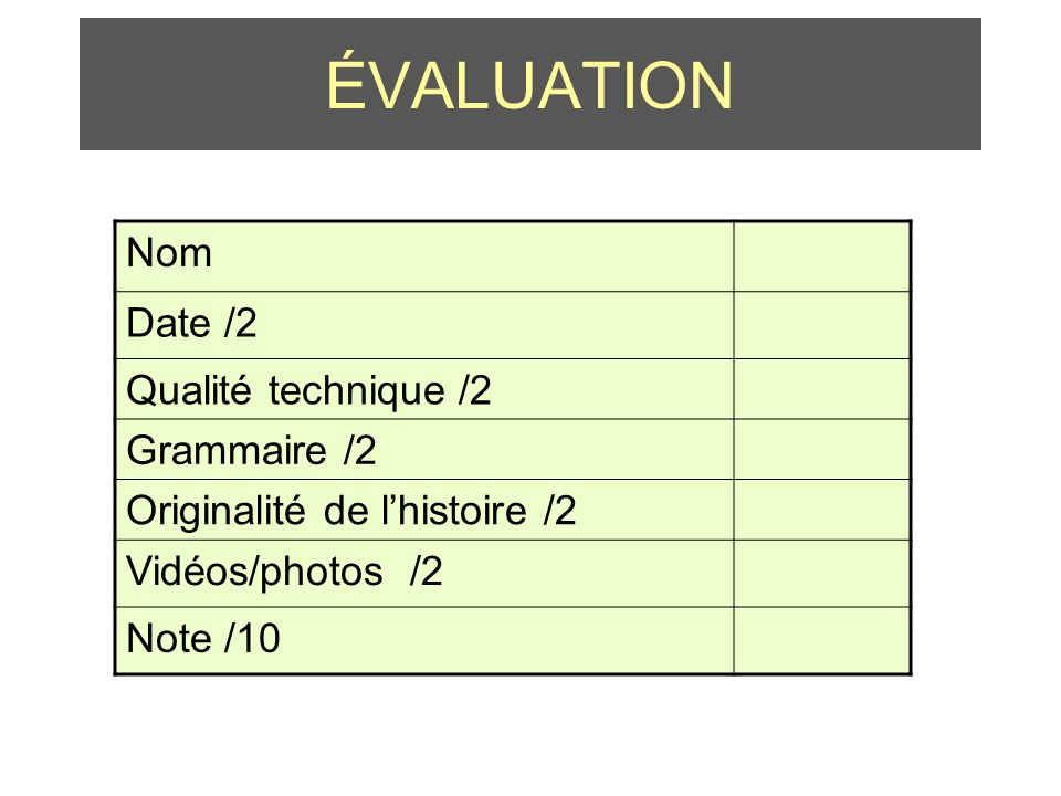 ÉVALUATION Nom Date /2 Qualité technique /2 Grammaire /2