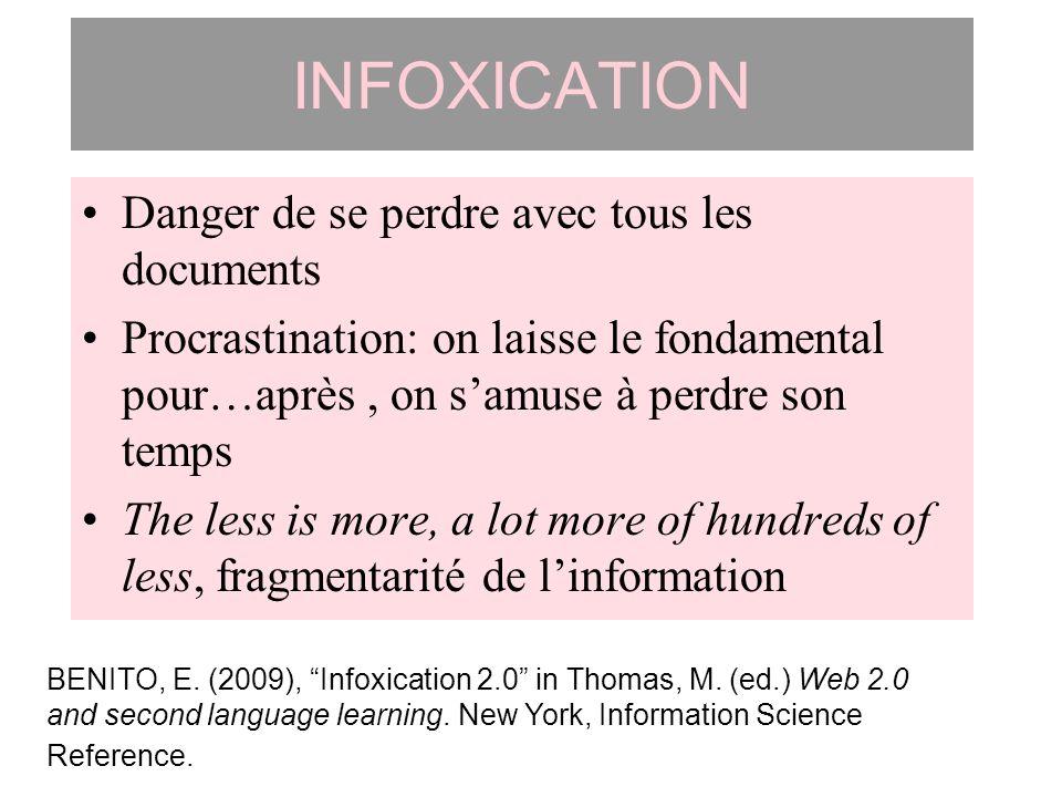 INFOXICATION Danger de se perdre avec tous les documents