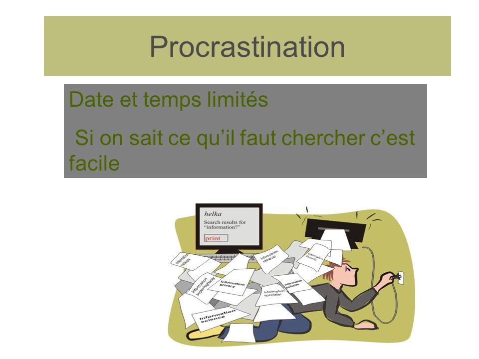 Procrastination Date et temps limités