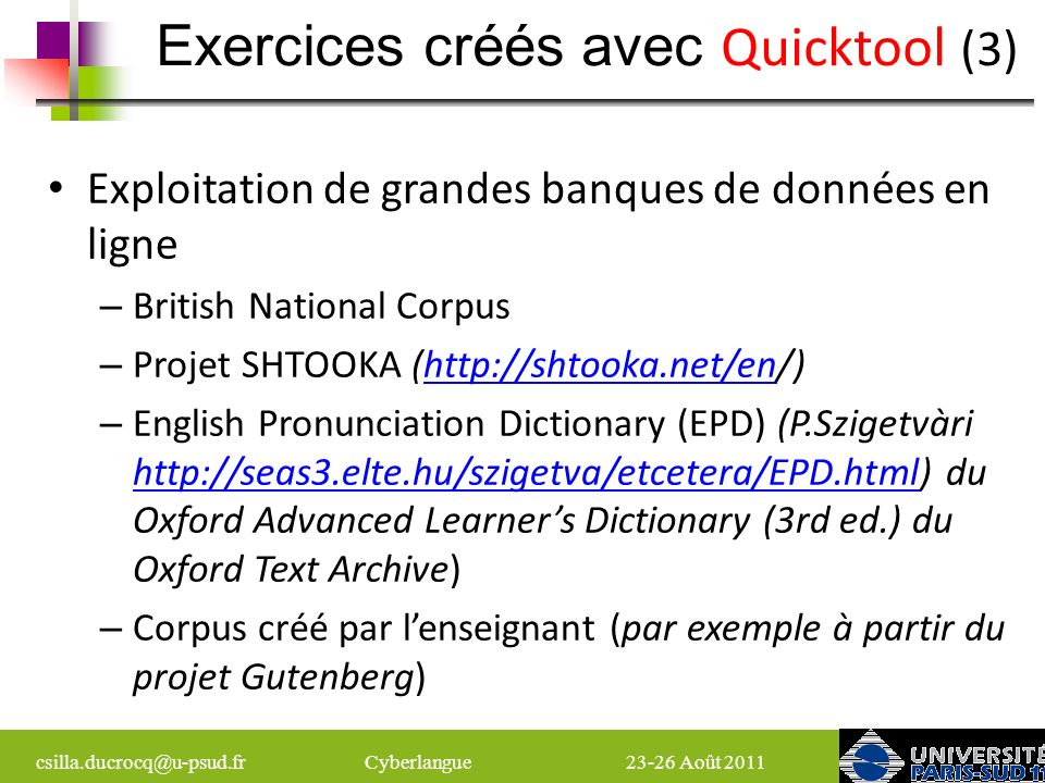 Exercices créés avec Quicktool (3)