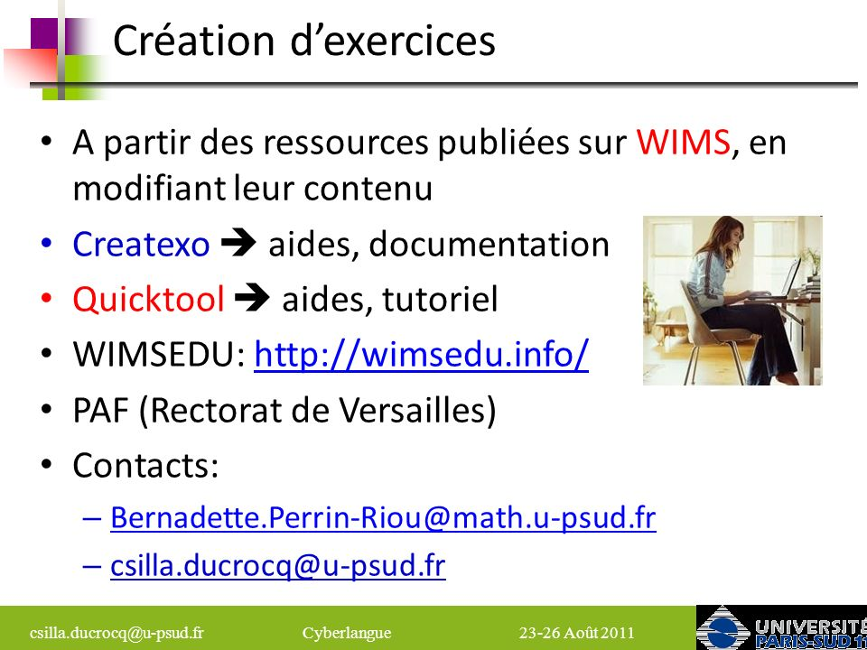 Création d'exercices A partir des ressources publiées sur WIMS, en modifiant leur contenu. Createxo  aides, documentation.