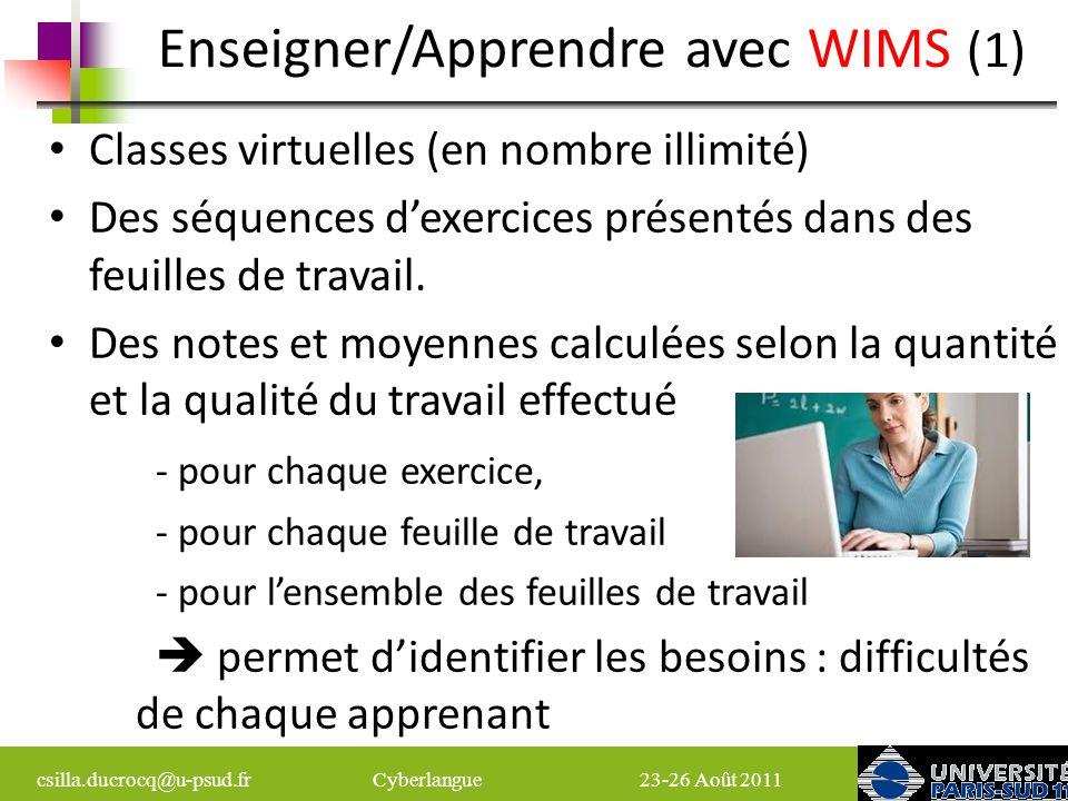 Enseigner/Apprendre avec WIMS (1)