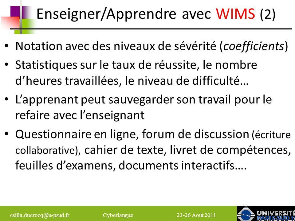 Enseigner/Apprendre avec WIMS (2)