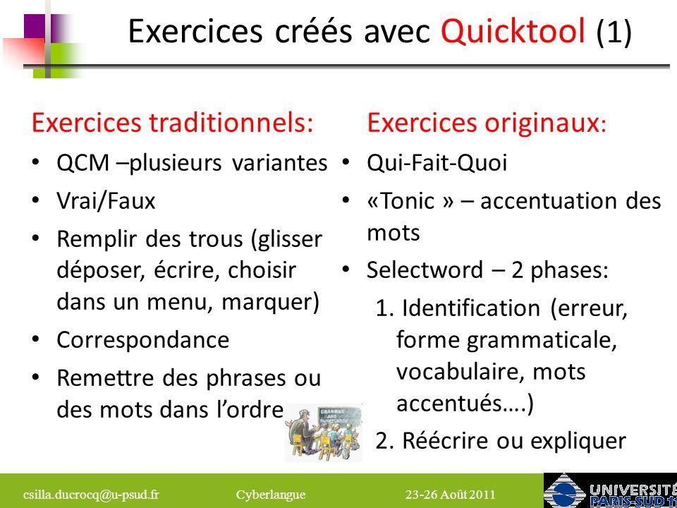 Exercices créés avec Quicktool (1)