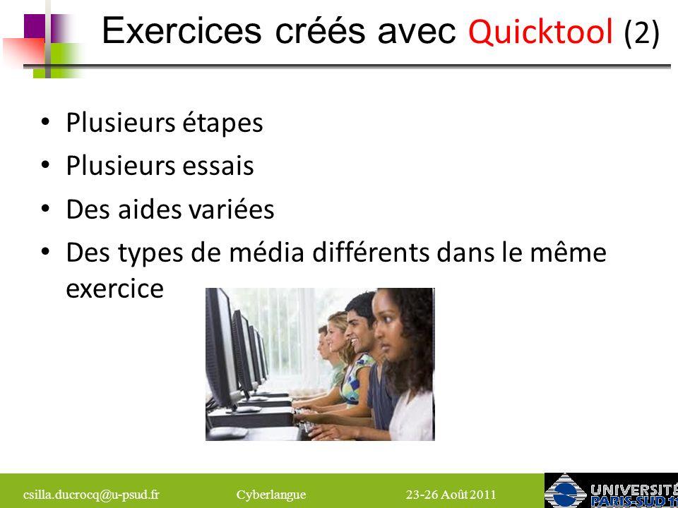Exercices créés avec Quicktool (2)