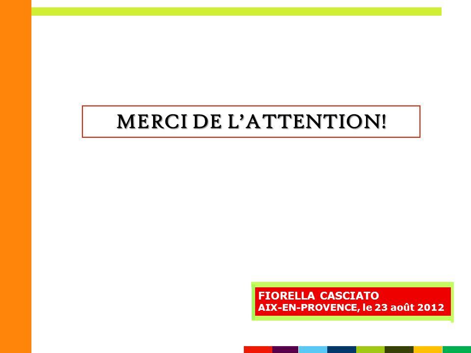 MERCI DE L'ATTENTION! FIORELLA CASCIATO
