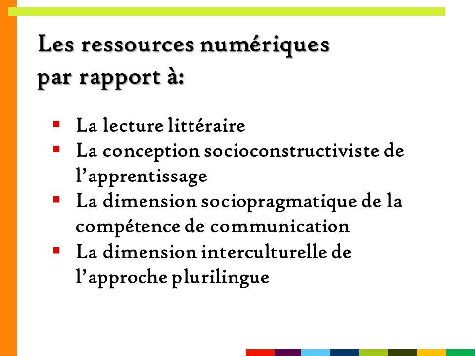 Les ressources numériques par rapport à: