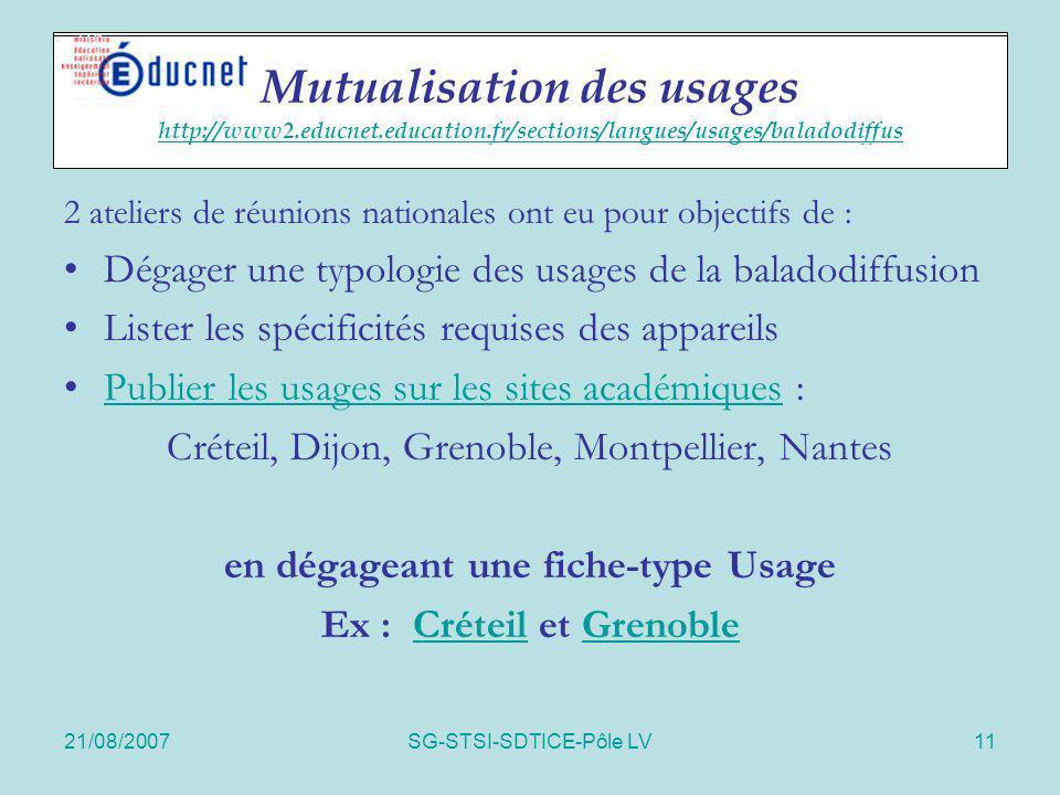 en dégageant une fiche-type Usage Ex : Créteil et Grenoble