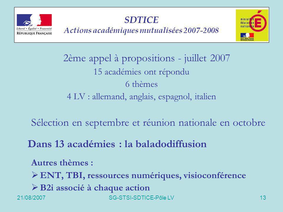SDTICE Actions académiques mutualisées 2007-2008