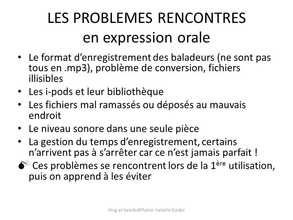 LES PROBLEMES RENCONTRES en expression orale