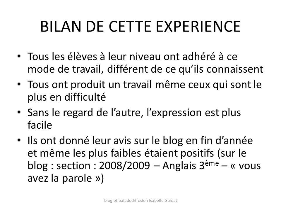 BILAN DE CETTE EXPERIENCE