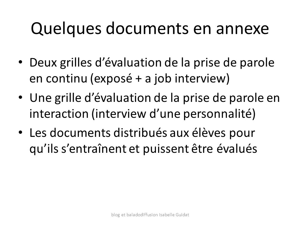 Quelques documents en annexe