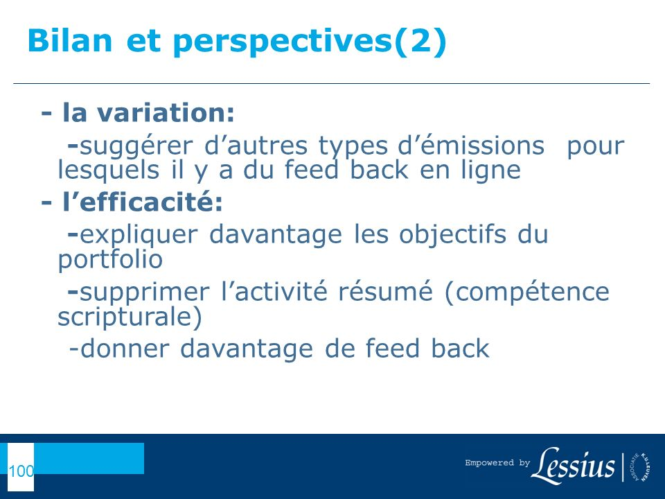 Bilan et perspectives(2)