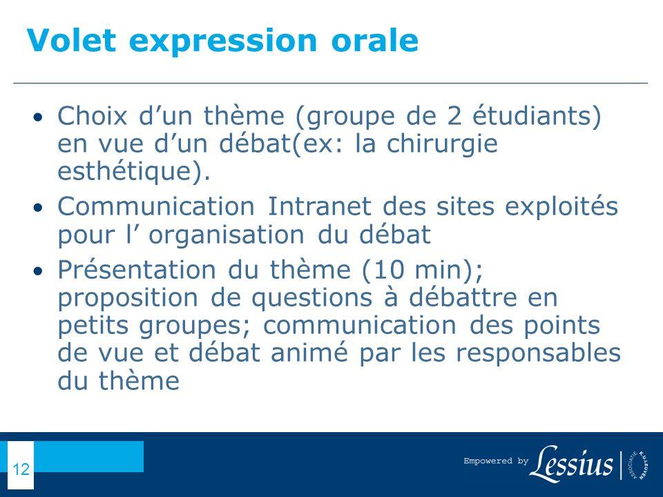 Volet expression orale