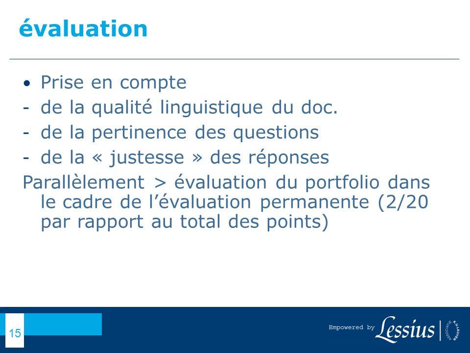évaluation Prise en compte de la qualité linguistique du doc.