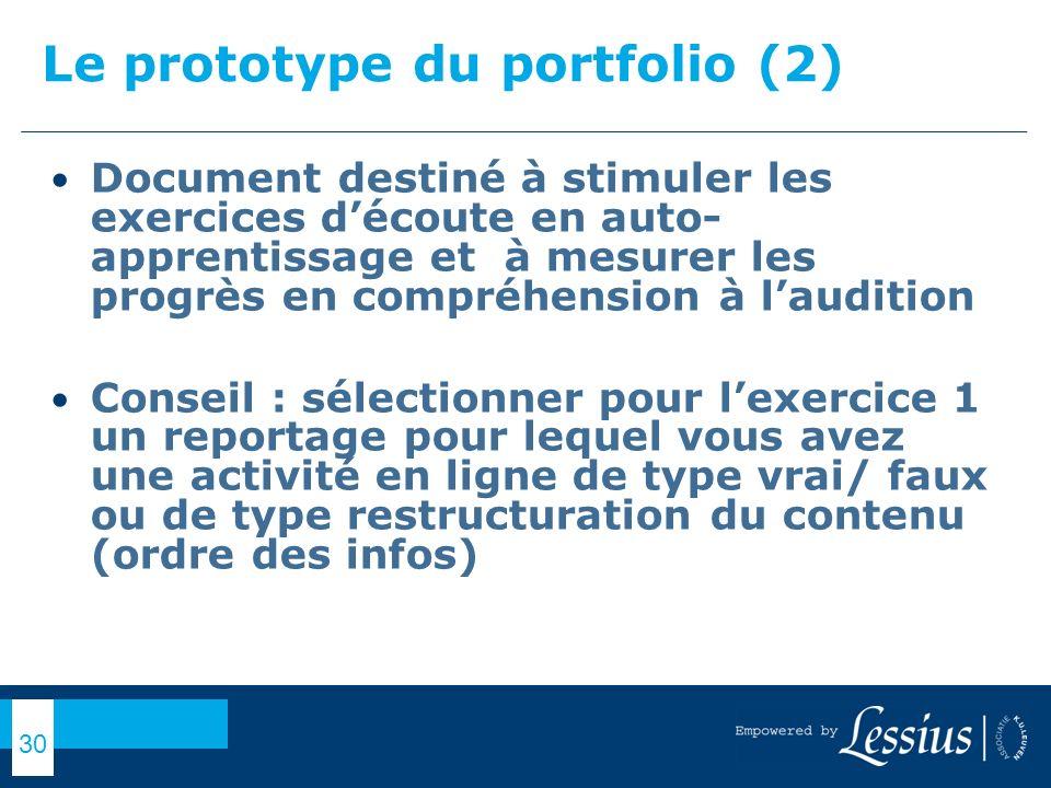 Le prototype du portfolio (2)