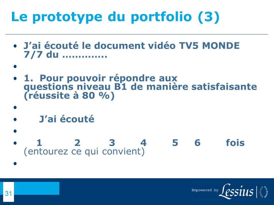 Le prototype du portfolio (3)