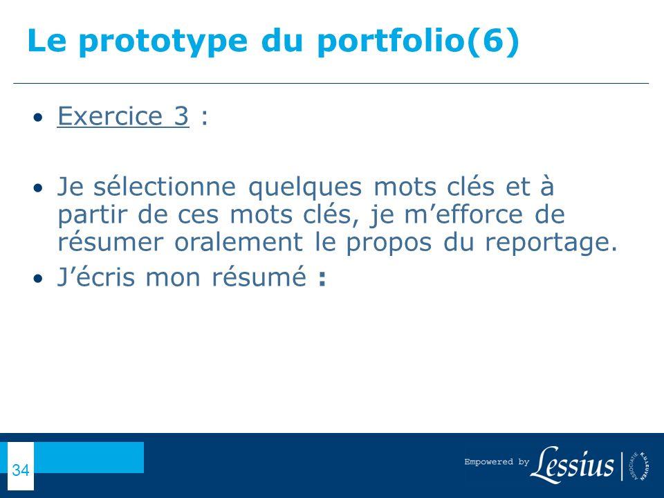 Le prototype du portfolio(6)