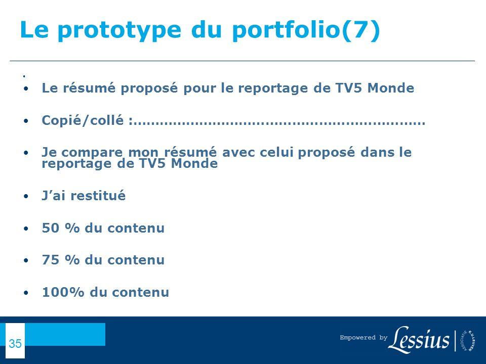 Le prototype du portfolio(7)