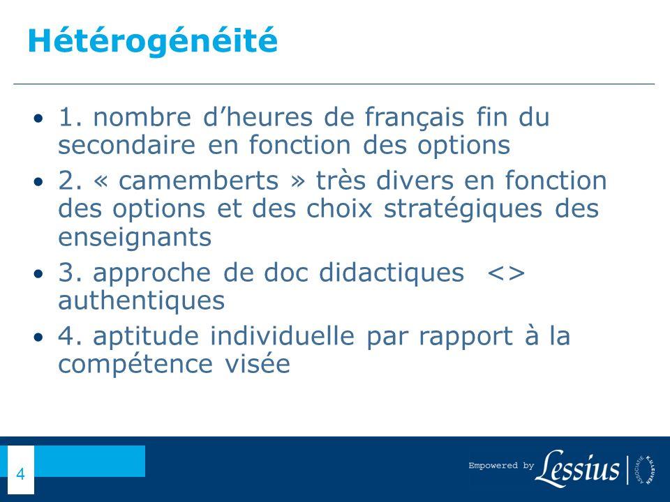 Hétérogénéité 1. nombre d'heures de français fin du secondaire en fonction des options.